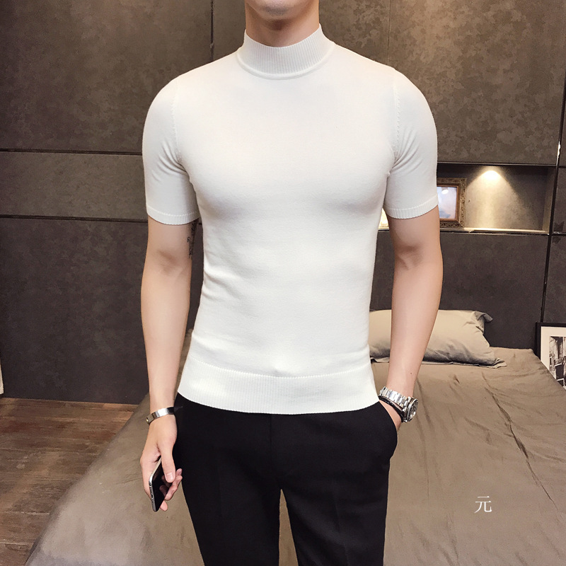 MRMT 2020 Brand Men's Sweater Pure Color Short Sleeves  Semi High Necked Pullover For Male Sweater Tops