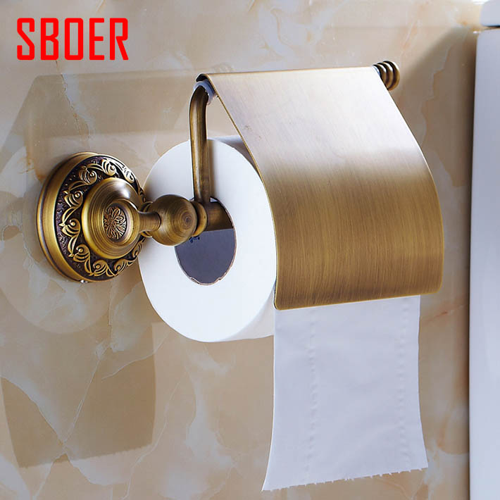 New arrival Antique Brass Toilet Paper Holder Roll Tissue Bracket with cover Wall Mounted