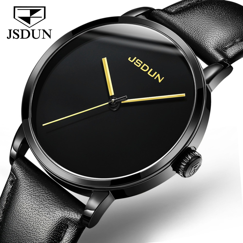 JSDUN Black Leather Mechanical Watches for Men Business Simple Male Clock Watch Stainless Steel Big Face Automatic Wristwatches relojes full stainless steel men s sprot watch black and white face vx42 movement