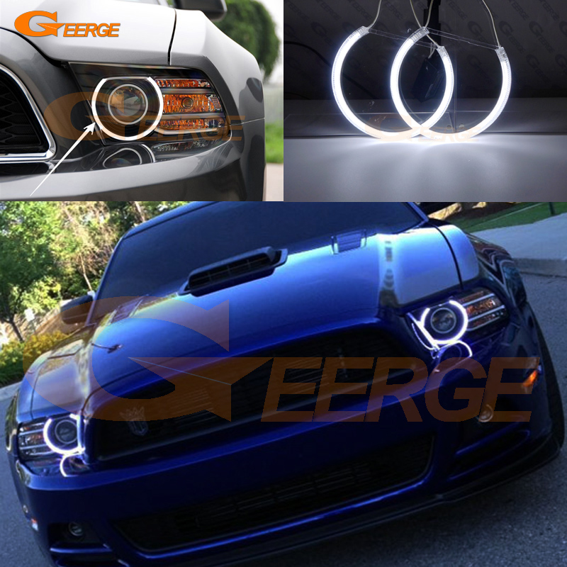 For Ford Mustang 2013 2014 Excellent angel eyes Ultra bright headlight illumination CCFL Angel Eyes kit Halo Ring hochitech excellent ccfl angel eyes kit ultra bright headlight illumination for ford edge 2011 2012 page 2