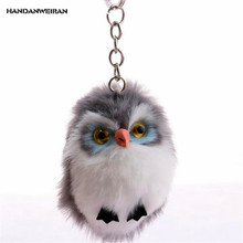 HANDANWEIRAN 1Pcs New Kawaii 7.5CM Owl Hair Ball Stuffed Plush Toys Fashion Cute Animal Pendants Keychain Toy Valentine Presents