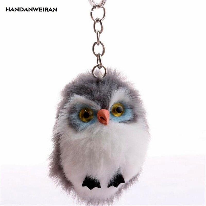 HANDANWEIRAN 1Pcs New Kawaii 7.5CM Owl Hair Ball Stuffed Plush Toys Fashion Cute Animal Pendants Keychain Toy Valentine Presents