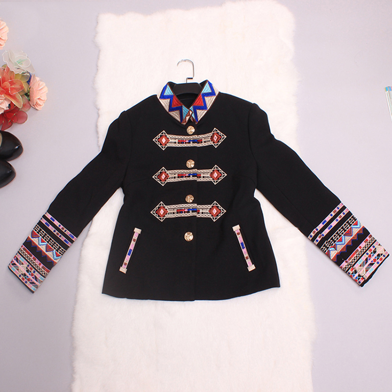 Punk Jackets Gothic Autumn-Winter New Fashion Coat Full Sleeve Geometric Flower Embroidery Turtleneck Black New Jacket Women