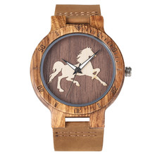 3D Wooden Running Horse Design Men Watches Quartz Movement Royal Brown Men's Gen