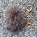 Harry Potter Keychain Jewelry- Geniune Fox Fur Pompom Ball With Luna Triangle Deathly Hallows Geometric Pendant Key Chain