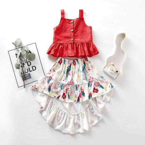 Canis Toddler Kid Baby Girl Clothes Button Vest Tops+Floral Dress Outfits Set US
