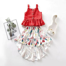 цена Canis Toddler Kid Baby Girl Clothes Button Vest Tops+Floral Dress Outfits Set US онлайн в 2017 году