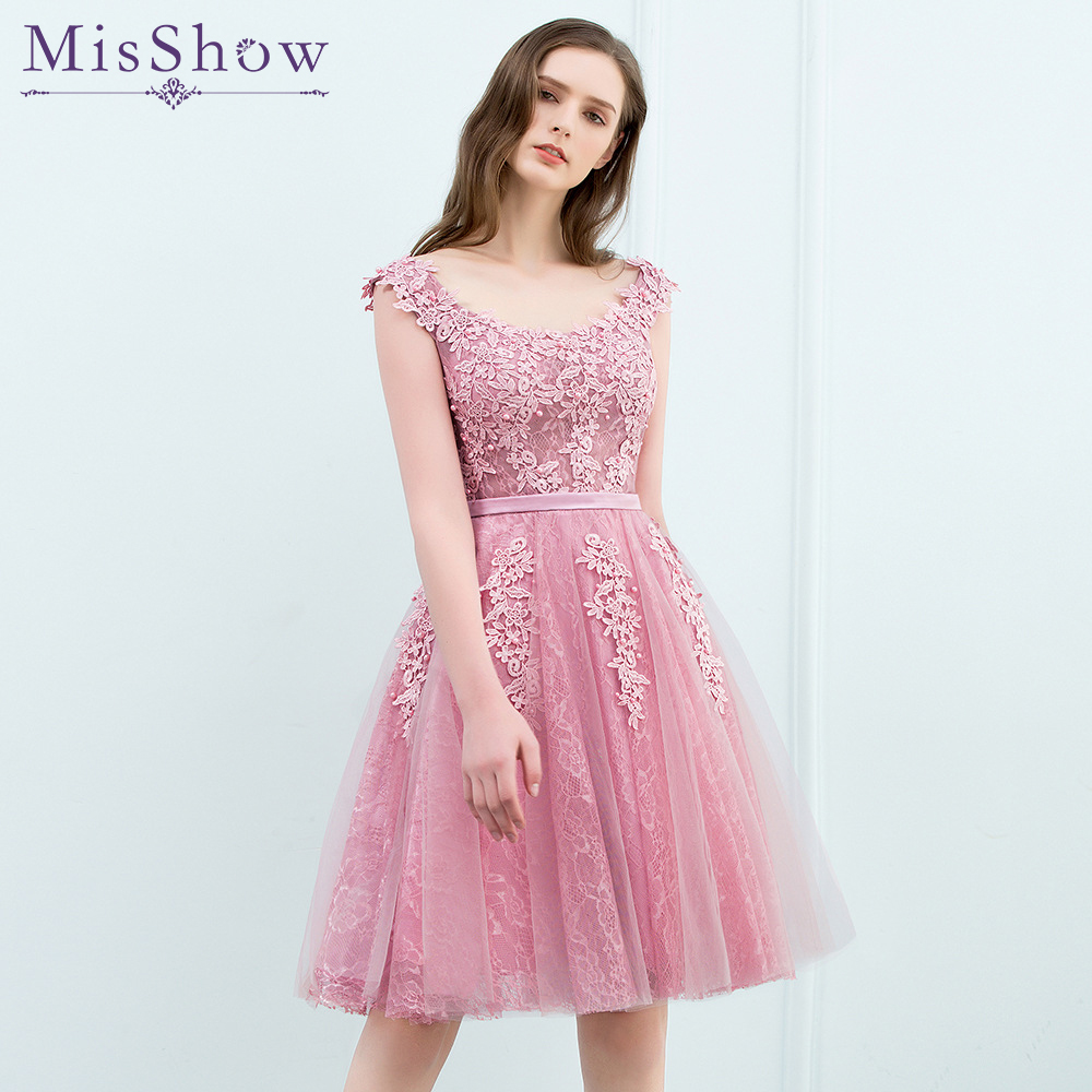 In stock Pink Short Prom Dresses 2018 Sexy Pearl Appliques Lace Prom ...