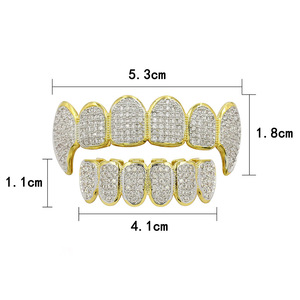 Image 5 - Hip Hop Punk Teeth Grillz Men Gold Rapper Teeth Top & Bottom Bling Grills Dental Mouth With CZ Cosplay Party Hip Hop Jewelry