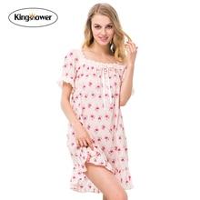 2016 Summer Women's Nightgown Sexy Lace Ladies 100% Cotton Cardigan Leisure Sleepwear Female Sleepshirts Lounge Homewear JA5026