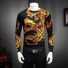 Autumn Mens Clothes Hot Sale Slim Fit Sweater Male Long Sleeve Stylish Dragon Print Knitted Pullover Man Plus Size Knitwear 4XL