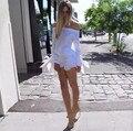 2016 Девушки Белый Лето Блузка Лук Синий С Плеча Женщины Топы Женский Sexy Beach Элегантные Blusas Сексуальная Блузка Кимоно