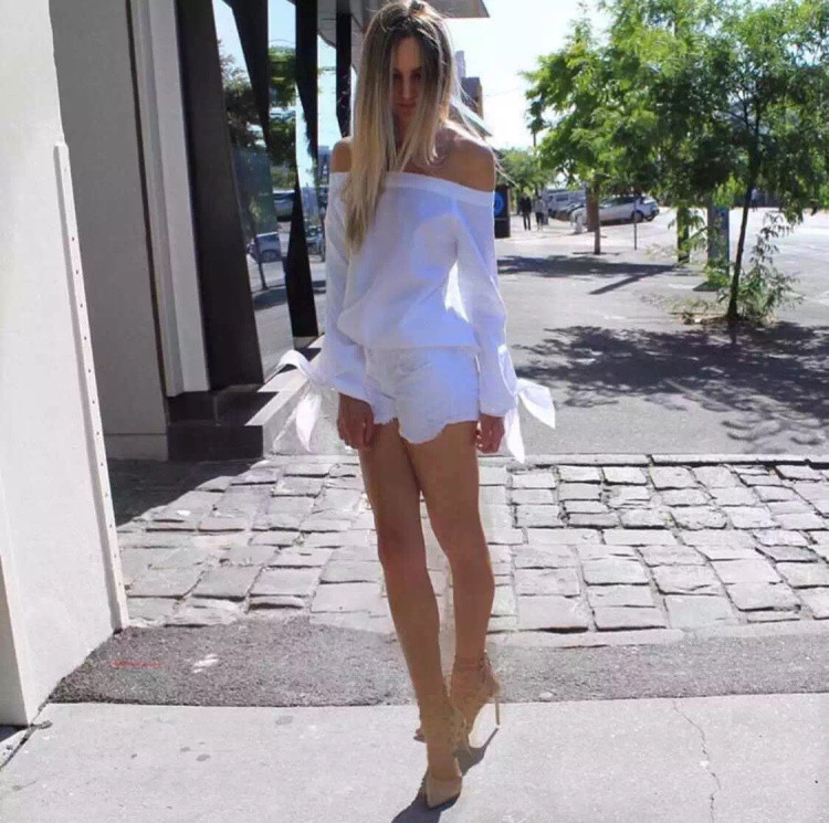 bb37f07d6996 2017 Girls White Summer Blouse Bow Blue Off Shoulder Women Tops Female Sexy Beach  Elegant Blusas Sexy Blouse Kimono