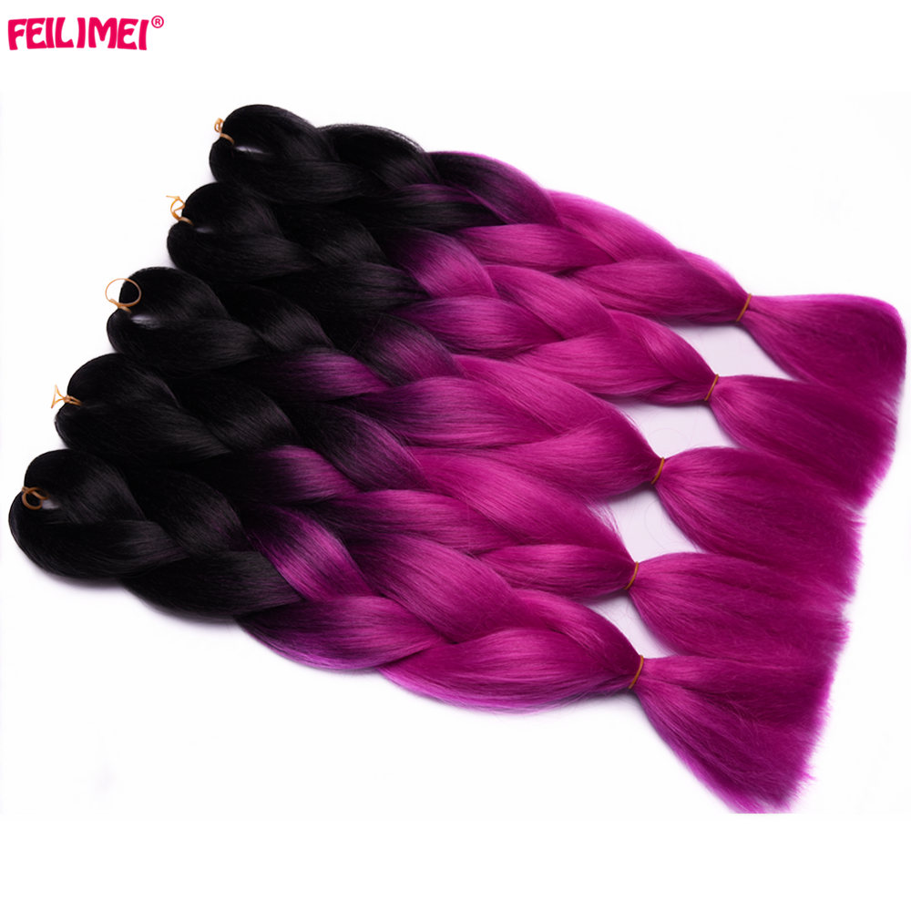 Steady Feilimei Jumbo Braiding Hair Extension 24 60cm 100g/pc Synthetic Two/three Toned Ombre Crochet Braids Hair Bulk Bundles Evident Effect