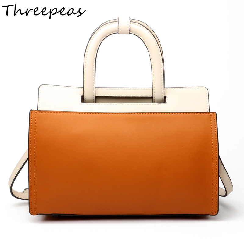 THREEPEAS Genuine Leather Women Shoulder Bags Messenger Bags Lady Crossbody Bags Handbags genuine leather fashion women handbags bucket tote crossbody bags embossing flowers cowhide lady messenger shoulder bags