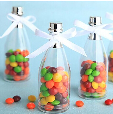 30pcslot champagne bottle plastic clear color transparent wedding baby shower baptism candy box gift favor box