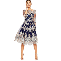 YJSFG HOUSE Luxury Brand Women Dress Fashion Embroidery Patchwork Hollow Out Vestido Dress Casual Party Women