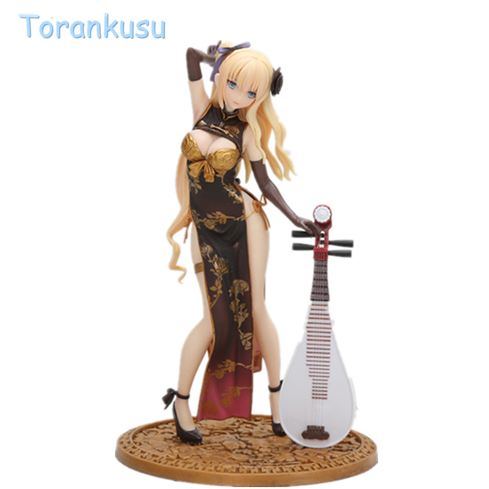 Action figure Jinlian Figurine Gold Bottle Plum sexy toys Cheongsam With Lute Hand PVC Collection Model Doll  Fantasy girl figurine