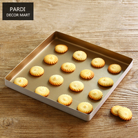 28cm Square shape Gold color no adhesion Pizza pan baking pan for cakes pies biscuits 1pc/lot