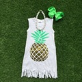 2016 free shipping girls summer dress 1-9t baby kids  pineapple dress girl tassels dresses with matching bows and necklace set