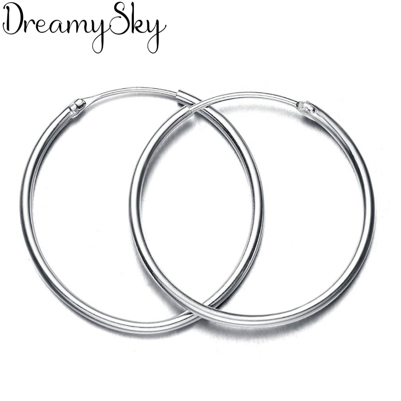 Large Size Medium Size Silver Color  Big Circle Hoop Earrings For Women Girls Round Earrings Hoops Ear Statement Jewelry