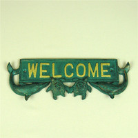 Copper Dolphin Figurine Welcome Sign Board Ornamental Metal Sea Turtle Miniature Greeting Plaque Wall Decor Craft Accessories