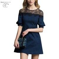 ElaCentelha Women Summer Autumn Dress 2016 Splicing Sleeve Cowboy In Bud Silk Dress A Line Skirt