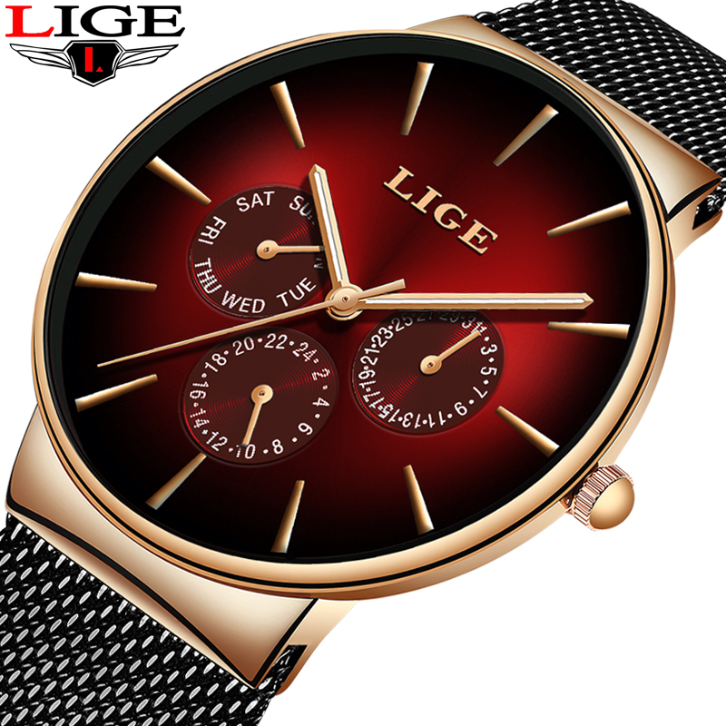 2019 New LIGE Red Clock Mens Watches Top Brand Luxury Casual Mesh Belt Stainless Steel Quartz Watch For Men Sport Wristwatch+Box