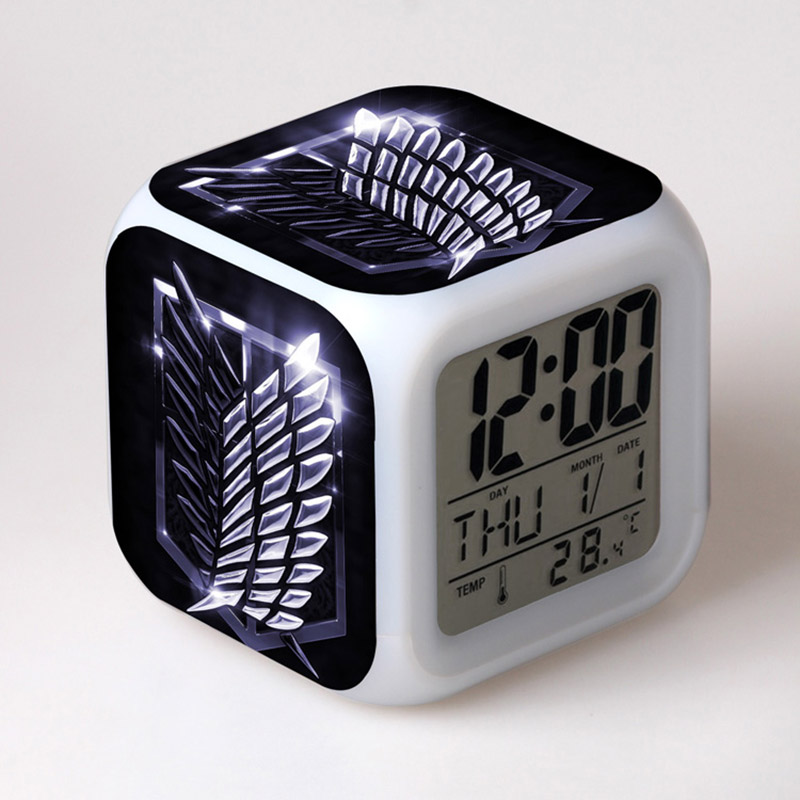 Japan Manga Attack On Titan Figma LED Alarm Clock Colorful Changing Touch Light Attack Amine Figure Toys