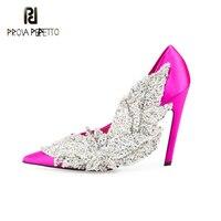 Prova Perfetto elgant lady partito scarpe da sposa strass fiori pompe donne di cristallo decor tacchi a spillo scarpe stile pista