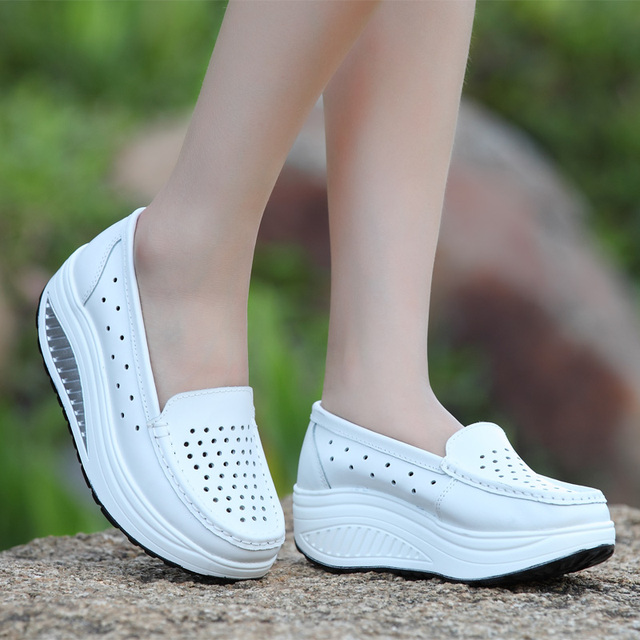 Summer Platform Shoes for Women 2016 Hollow Wedges Swing Shoe Women Casual Shoes Slip on Walking Zapatos