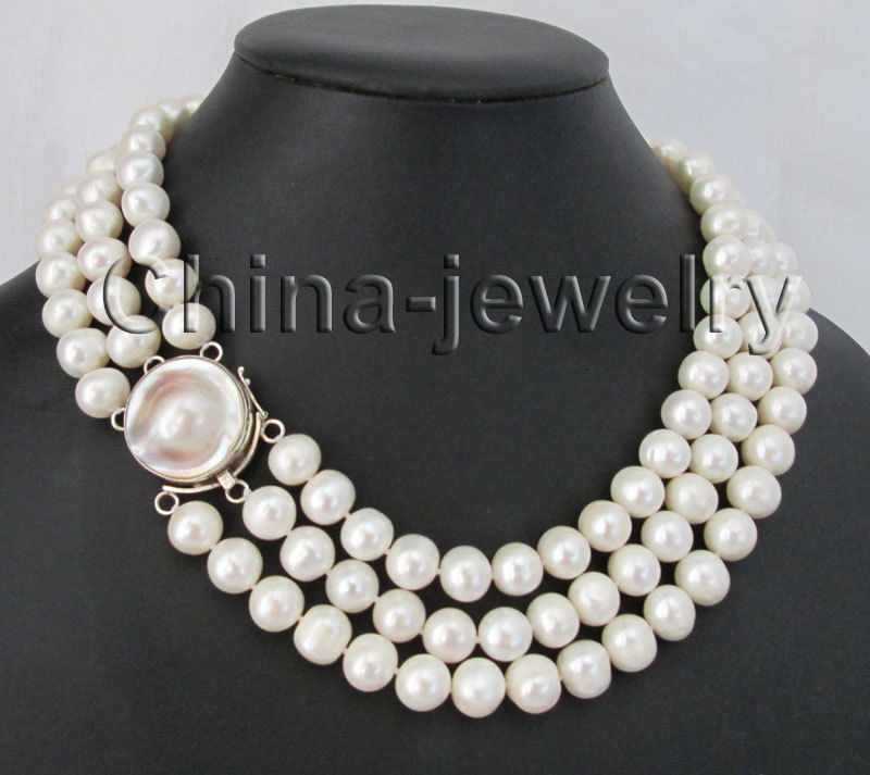 17-19 3row 10-11mm white round freshwater pearl necklace - 925 mabe sherry kinkoph willard teach yourself visually microsoft office 2007