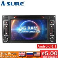 A уверен 8 Core 4G Оперативная память 32G Встроенная память 7 дюймов 2 Din Android 8,0 Радио DVD GPS для автомобиля для Volkswagen VW T5 многопоточный транспортер