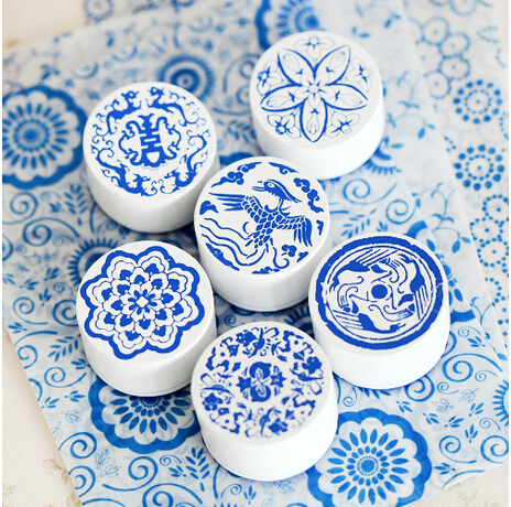 6pcs lot blue and white porcelain series stamp 6 different for Decorating with blue and white pottery
