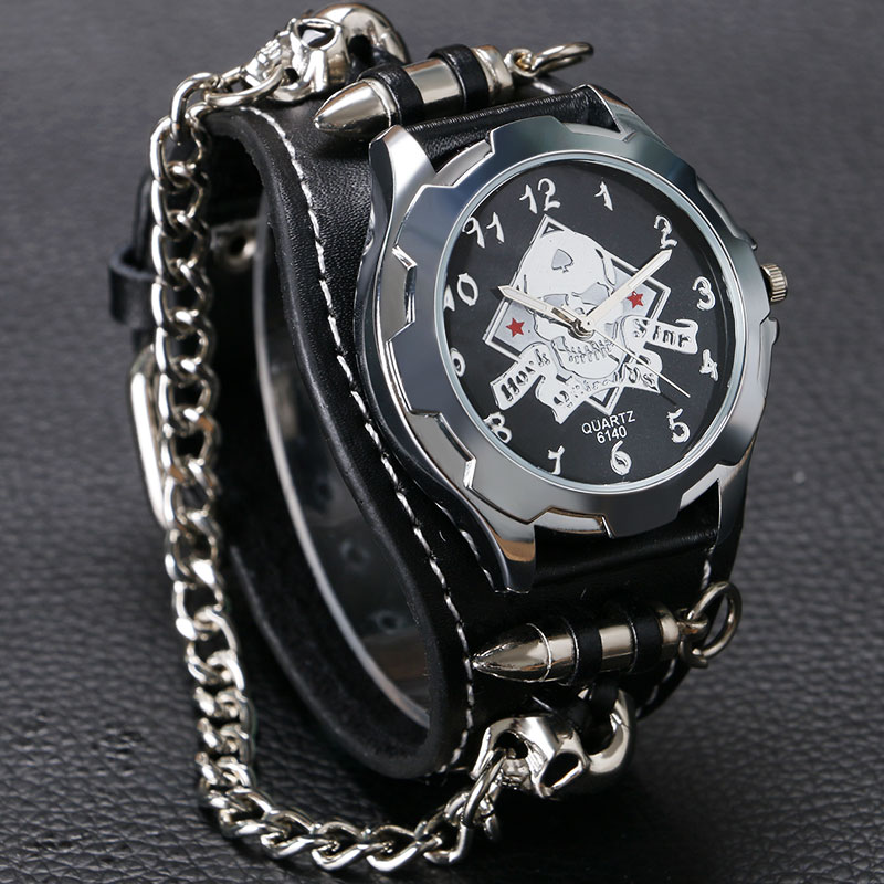 Cool Punk Bracelet Quartz Watch Men Wristwatch Skull Bullet Chain Gothic Style Analog Genuine Leather Band Men Women Xmas Gifts