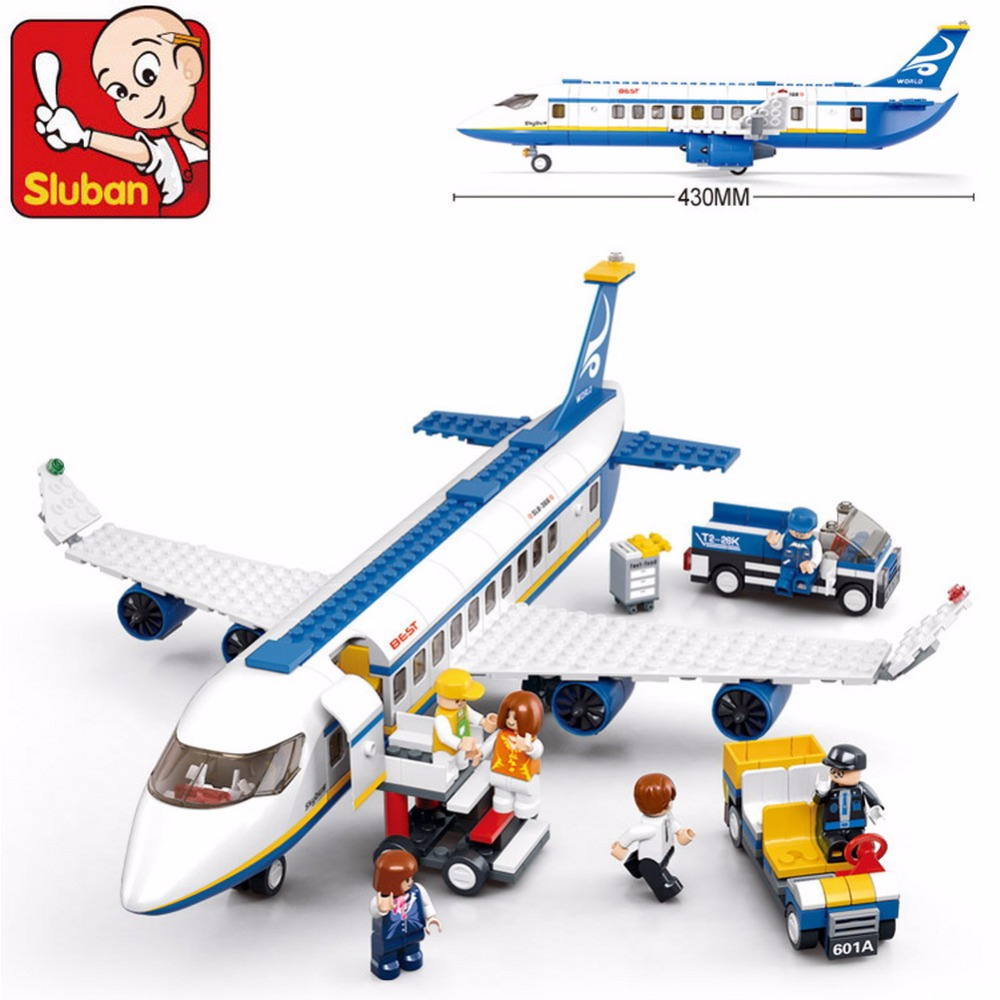 B0366 SLUBAN City Plane Airport Cargo Terminal Model Building Blocks Enlighten DIY Figure Toys For Children Compatible Legoe sluban pink dream sweet drink house educational toys for children building blocks plastic enlighten diy bricks legoe compatible