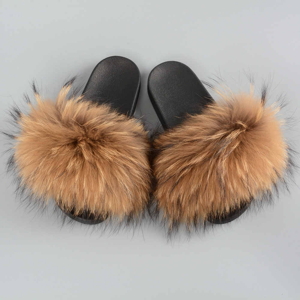 94f4716d5064 Dropwow Women s Fur Slipper Real Raccoon Fur Fashion Style Furry ...