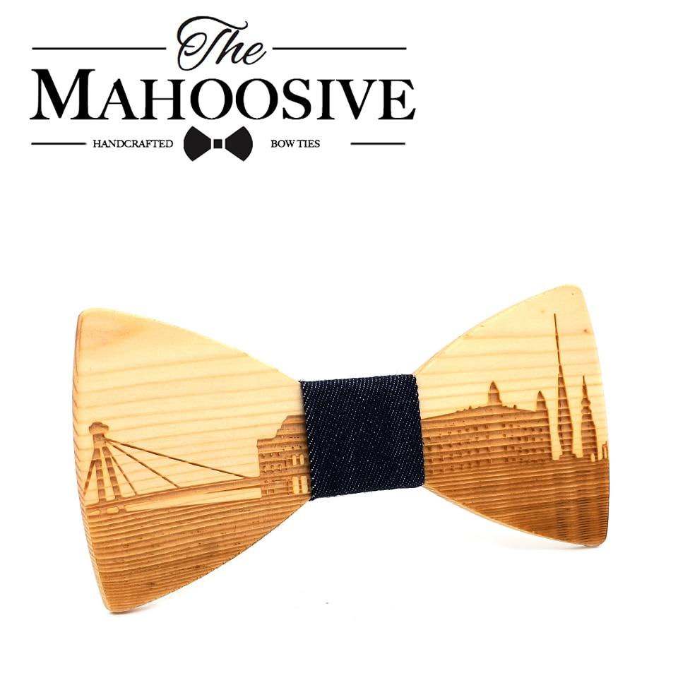 Wooden Cravat MenS BOW TIE Slovakia BRATISLAVA City Skyline Men Suit Shirt Necktie Classic Neckwear Butterfly Bow Tie Accessory