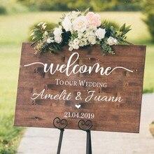 Добро пожаловать свадебные значки, наклейки на стену Наклейка из винила помолвка торжество крещение день рождения знак Свадебные украшения Декор N003