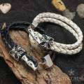 Fashion vintage brief the buckle double knitted  leather bracelet for men and women  cross stainless steel  toggle clasps
