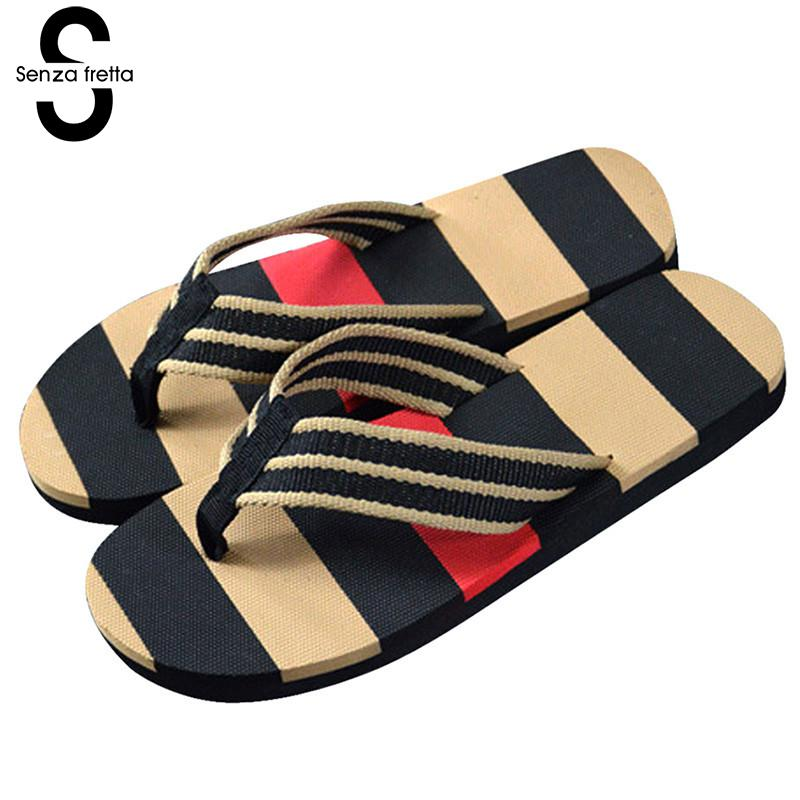 Senza Fretta Men Flip Flop Slipper Summer Flip Flops Outdoor Stripe Flip Flops Casual Sandals Slippers Men Beach Non-slip Shoes creative 3d print designer shoes men s beach flip flops casual flat sandals zapatos mujer fashion sandals slipper for men retail