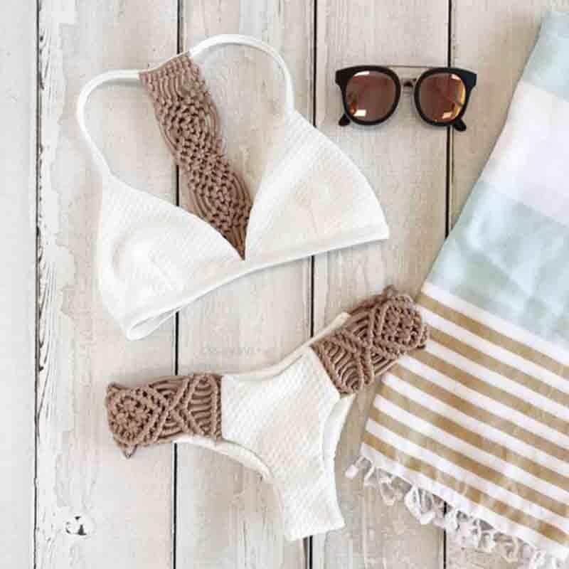 High Quality Pure White Stitching Knitting Part Personality Sexy Bikini Push Up 2019 Two Sets Popular Swimwear Women AA331 in Bikinis Set from Sports Entertainment
