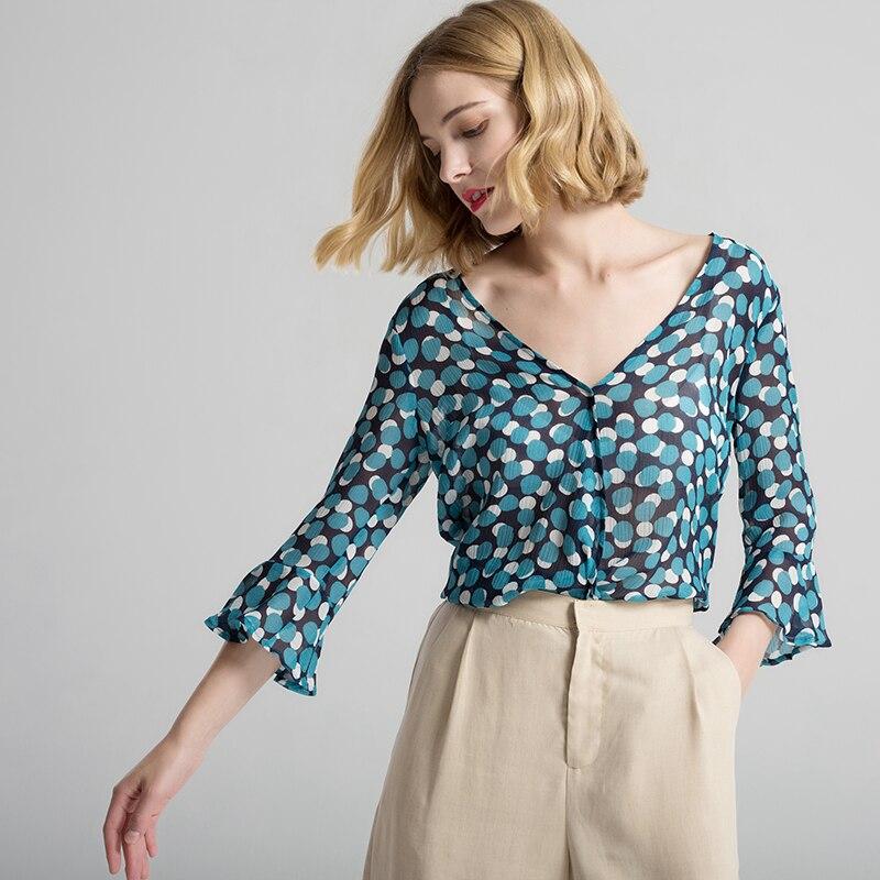 Femmes Blouse 100% vrais points de soie imprimé papillon à manches mode Blouses transparentes 2018 printemps été nouvelle chemise haute bleu-in Blouses & Chemises from Mode Femme et Accessoires    2