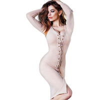 YJSFG HOUSE Fashion Women Sexy Hollow Dress Party Long Sleeve Sexy Straps Lady Clubwear Bandage Dress