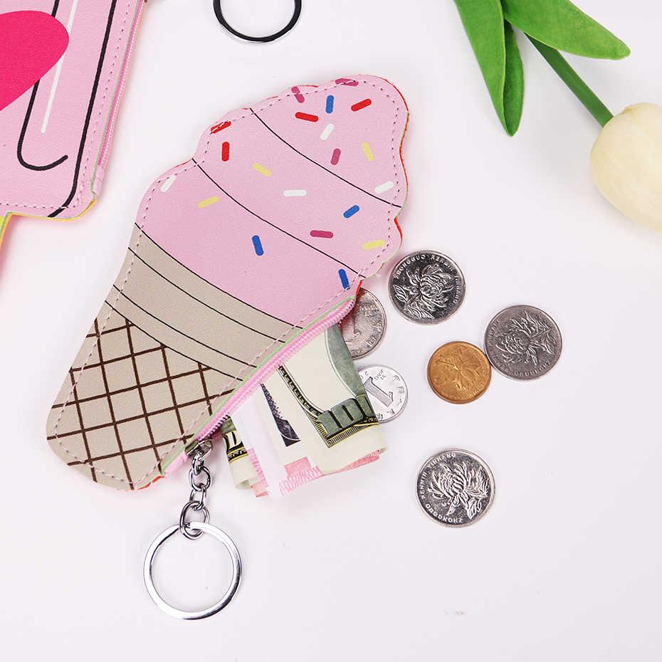 Meninas dos desenhos animados moeda bolsas bolsa bonito sorvete garrafa de couro do plutônio zíper bolsa crianças carteira pequena bolsa para chaves anel