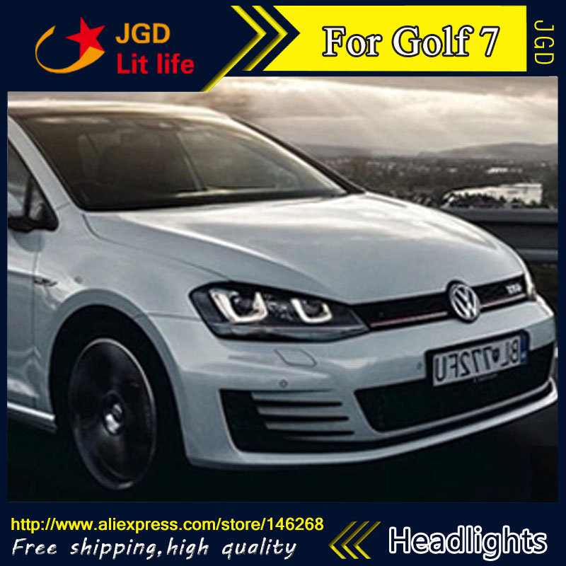 Free shipping ! Car styling LED HID Rio LED headlights Head Lamp case for VW Golf 7 2014 Bi-Xenon Lens low beam