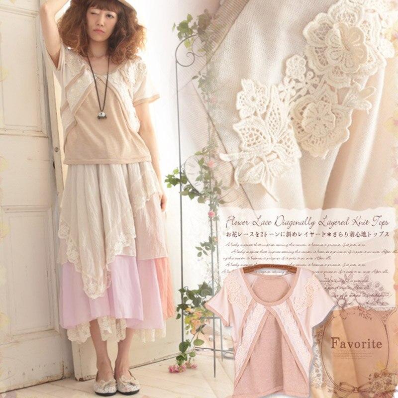 Harajuku Summer Mori Girl Sweet Tops Women Japanese Short Sleeve Patchwork Floral Embroidery Female Kawaii T shirt Tees A105