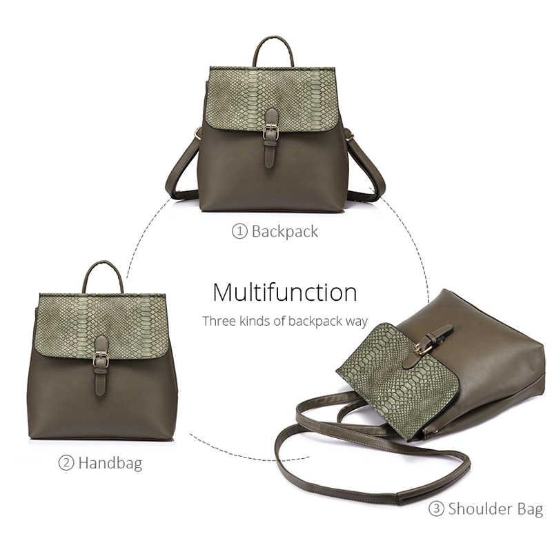 Женский небольшой рюкзак LOVEVOOK, школьный портфель со змеиным принтом для девочек подростков сумка, многофункциональная сумка через плечо с регулируемым плечевым ремнем, 2019