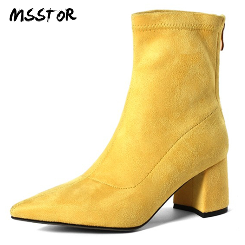 цена MSSTOR Concise Yellow Socks Boots Flock Rome Casual Square Heels Plus Size 43 Pumps Shoes Women Pointed Toe Winter Ankle Boots в интернет-магазинах