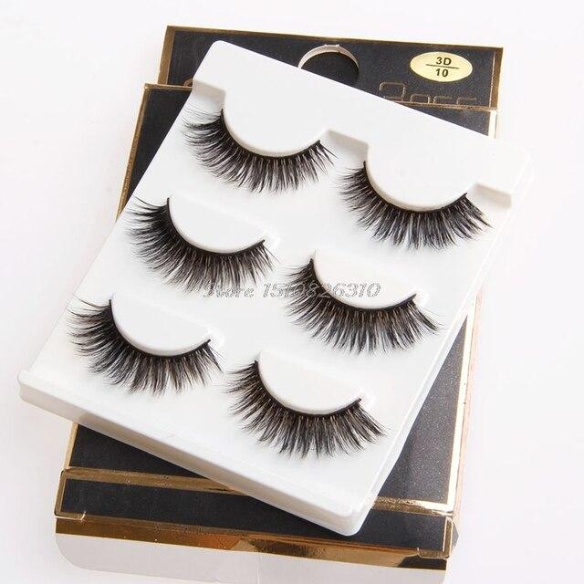 Best Sale 3 Pair Natural Long Black 3d Eye Lashes Makeup Handmade